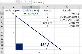 find the tangent of an angle with excel s tan function