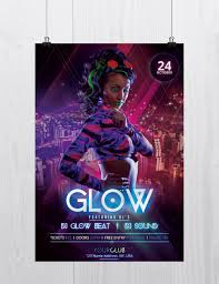 glow flyer glow and neon free psd flyer template on behance