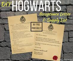 harry potter diy hogwarts acceptance letter 1st year supply list free printables the quiet grove