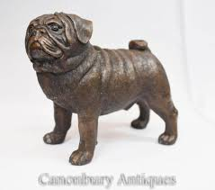 English Bronze Pug Dog Statue Puppy