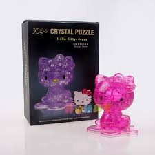 3d stereoscopic crystal puzzle KITTY cartoon children\u0027s educational toys handmade gifts children 8-9 years old girls