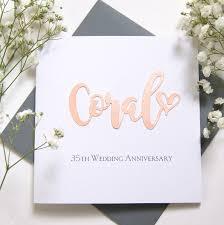 Coral 35th Wedding Anniversary Card Shop Online Hummingbird Card