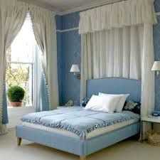 Blue And White Bedroom Curtains Bedroom Romantic Blue White Bedroom Blue  White Bedroom Color Scheme With White Curtains Wall Lamp Blue Wall Art Blue  ...