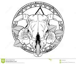 эскиз татуировки черепа коровы быка с розами и эскизом татуировки