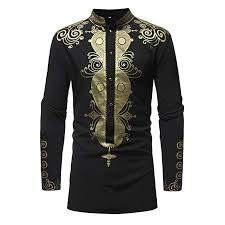 African Top Chart Izhh Mens Luxury African Print Long Sleeve Shirt Top Autumn Winter Blouse
