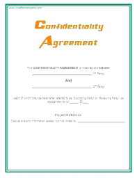 Confidentiality Agreement Example Sample Template Simple Word Non ...