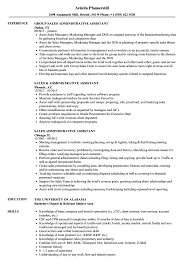 Sales Administrative Assistant Resume Samples Velvet Jobs