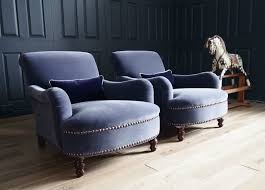 Pair of George Smith Jules Armchairs in Designers Guild Velvet rrp 11,840