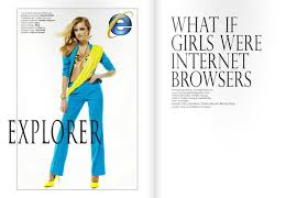 internet explorer costume women dressed as high fashion internet browsers
