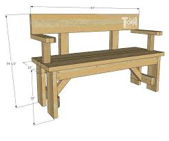 how to build a wood bench with back support and arm rests