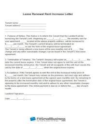 landlord tenant lease renewal letter