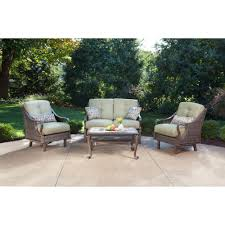 hanover ventura 4 piece patio conversation set with vintage meadow cushions