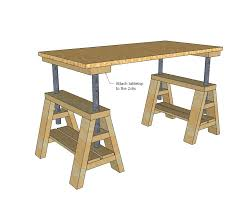 ana white build a modern indsutrial adjule sawhorse desk to coffee table free and