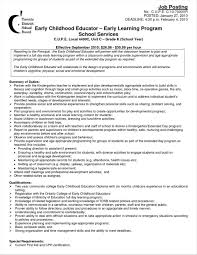 Resume Samples For Ece Teachers Early Childhood Education Teacher