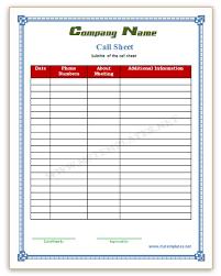 Call Sheet Template | Madinbelgrade