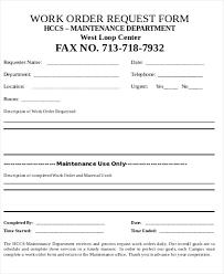 Blank Work Order Form Maintenance Job Work Order Template