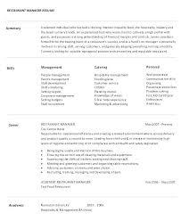Sample Resume Of Restaurant Manager Emelcotest Com