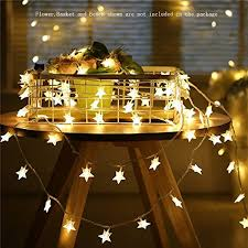 White Indoor Fairy Lights Star String Lights Battery Operated Led Twinkle Lights 50pcs
