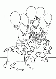 Birthday Gifts And Balloons Coloring Page