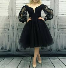 <b>Black</b> Gothic <b>Short</b> A Line Wedding Dresses <b>Lace Applique</b> V Neck ...