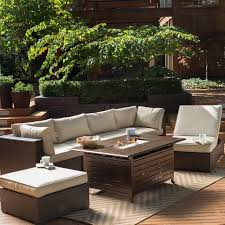 outdoor patio set with fire pit 1900 belham living marcella all weather wicker 6 piece sectional fire pit set outdoor patio furniture sets with fire