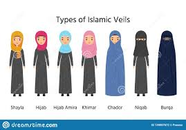 Types Of Design In Fashion Types Of Hijab Islamic Women Clothes Vector Illustration