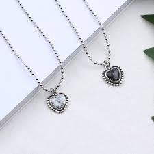 s925 sterling silver necklace nature tophus heart shape pendant necklaces retro black and white marble female jewelry jyn002 silver necklace tophus