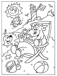 Kleurplaat Nijlpaard Op Het Strand Kleurplatennl