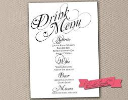 Wedding Bar Menu Template | Printables And Menu