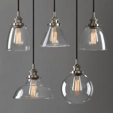 pendant lighting glass shades. Modern Industrial Brushed Steel Pendant Light Glass Shade Filament Ceiling Lamp Lighting Shades M