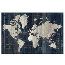 world map wall art blue canvas art