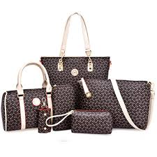 <b>Women's Bag Set</b> with Whimsical Design Print (<b>6 Pcs</b>) - Brown