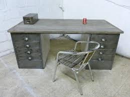 office metal desk. Wood And Steel Desk Vintage Industrial Polished Metal Office Retro Reclaimed .