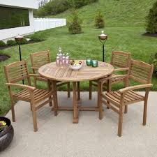 impressive teak patio furniture for outdoor teak outdoor round dining table set with stacking chairs