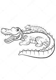 Kleurplaten Dieren Moeder Alligator Met Haar Kleine Schattige B