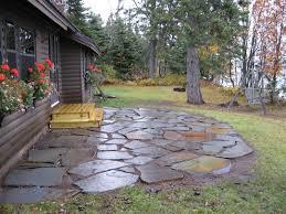 flagstone patio with grass. Image Of: Backyard Flagstone Patio With Grass