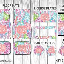 lilly pulitzer let s cha cha car mat plate frame seat belt cover