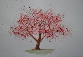 watercolor cherry tree painting with red leaves