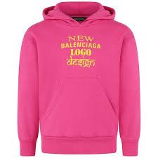 Sweater Logo Design Balenciaga Fuchsia Logo Print Hoodie Boys Designer Hoodies