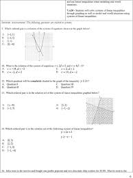 7 a20 students will solve systems of linear inequalities through graphing as well as