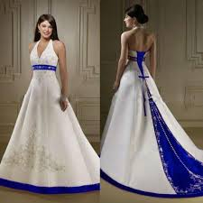 a line halter wedding dress. discount court train ivory and royal blue a line wedding dresses halter neck open back lace up closure bridal gowns custom made ball dress