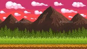 mountains backgrounds. Pixel Art Seamless Background With Mountains - Backgrounds Game Assets