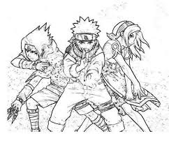 Small Picture Sasuke Naruto and Sakura in Naruto Coloring Page Download