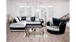 calvin lhf black and silver crushed velvet corner sofa ter back 2