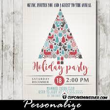 Company Holiday Party Invitations Christmas Tree Elements