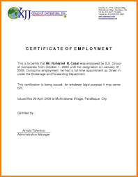 Example Certificate Certificate Of Employment Sample Deped Fresh