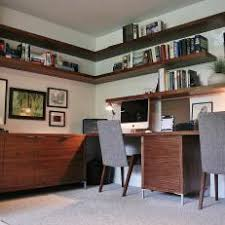 office floating shelves. white and brown midcentury home office with floating shelves o