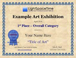 Lightspacetime.art » » Sample Award Certificate