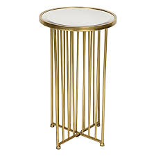 Gold Round Metal Tubular <b>Side Table</b> Mirrored Top <b>Vintage Style</b> ...