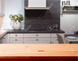 Kitchen Interior Empty Wooden Table Closeup Horizontally Stock